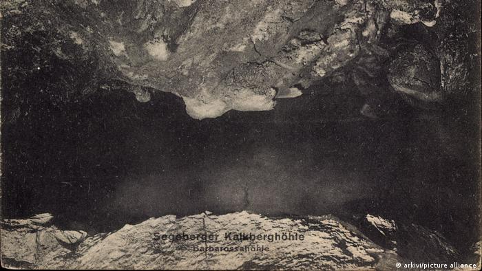 Germany, black and while picture of the interior of the Kalkberg Cave in Schleswig Holstein