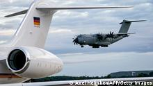An Airbus A400M of the German armed forces Bundeswehr arrives at the airport in Wunstorf, northern Germany on August 27, 2021 at the end of a military evacuation operation to fly out German nationals, local workers and other people at risk from Kabul, Afghanistan, where people try to flee the country after the Taliban swept back to power. - Germany has pulled out all its soldiers from Afghanistan with its last evacuation flight from Kabul, Defence Minister Annegret Kramp-Karrenbauer said. Germany had flown out 5,347 people since August 16, she confirmed. (Photo by Axel Heimken / AFP) (Photo by AXEL HEIMKEN/AFP via Getty Images)
