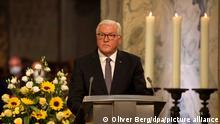 28.8.2021, Aachen****Bundespräsident Frank-Walter Steinmeier spricht bei einer Gedenkzeremonie nach einem ökumenischen Gottesdienst für die Opfer der Hochwasserkatastrophe im Westen Deutschlands im Dom.