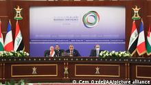 BAGHDAD, IRAQ - AUGUST 28: Iraqi Prime Minister Mustafa Al-Kadhimi makes a speech during the Baghdad Conference for Cooperation & Partnership in Baghdad, Iraq on August 28, 2021. Cem Ozdel / Anadolu Agency