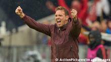 Trainer Julian Nagelsmann FCB, team manager, headcoach, coach, celebrate 1-0, Thomas MUELLER, MÜLLER, FCB 25 in the match FC BAYERN MUENCHEN - HERTHA BSC BERLIN 1.German Football League on August 28, 2021 in Munich, Germany. Season 2021/2022, matchday 3, 1.Bundesliga, FCB, München, 3.Spieltag.