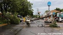 A fallen tree and electricity pole are pictured as Hurricane Nora approaches Manzanillo, in Colima state, Mexico August 28, 2021. REUTERS/Jesus Lozoya NO RESALES. NO ARCHIVES