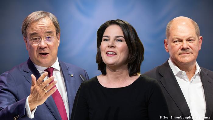 Portraits des trois candidats chanceliers : Laschet, Baerbock et Scholz.