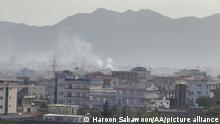 KABUL, AFGHANISTAN - AUGUST 29: Smoke rises after an explosion in Kabul, Afghanistan on August 29, 2021. Haroon Sabawoon / Anadolu Agency