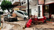 Damaged cars are pictured on a flooded street after Hurricane Nora pounds Mexico's coast with heavy rains and strong winds in Puerto Vallarta, in Jalisco state, Mexico August 29, 2021. REUTERS/Alfonso Lepe NO RESALES. NO ARCHIVES