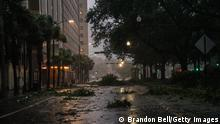 NEW ORLEANS, LOUISIANA - AUGUST 29: Debris is seen in an intersection in downtown on August 29, 2021 in New Orleans, Louisiana. Hurricane Ida made landfall earlier today and continues to cut across Louisiana. Hurricane Ida has been classified as a Category 4 storm with winds of 150 mph. (Photo by Brandon Bell/Getty Images)