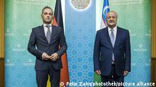Bundesaussenminister Heiko Maas, SPD, trifft Abdulaziz Komilov, Aussenminister der Republik Usbekistan zu einem Gespraech in Taschkent. 30.08.2021.