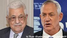 (COMBO) This combination of pictures created on August 30, 2021 shows (L to R) Palestinian president Mahmud Abbas during a diplomatic meeting in Ramallah in a handout photo provided by the Palestinian Authority's press office (PPO) on August 1, 2021; and Israeli Defence Minister Benny Gantz giving a press conference at his party's office in the Knesset in Jerusalem on June 7, 2021. - Israel's Defence Minister Benny Gantz met with Palestinian president Mahmoud Abbas in Ramallah late on August 29 to discuss security-policy, civilian and economic issues, his official Twitter account said hours after Israeli Prime Minister Naftali Bennett returned from Washington DC. (Photos by Thaer GHANAIM and Menahem KAHANA / various sources / AFP) / === RESTRICTED TO EDITORIAL USE - MANDATORY CREDIT AFP PHOTO / HO / PPO - NO MARKETING NO ADVERTISING CAMPAIGNS - DISTRIBUTED AS A SERVICE TO CLIENTS ===
