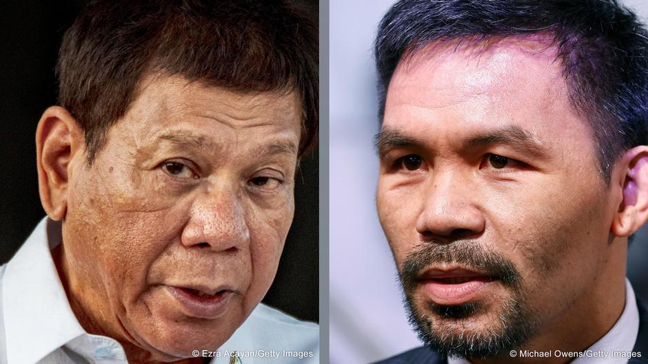 被提名參選總統的帕奎奧(右),及將參選副總統的杜特爾特(左),兩方爭執持續升溫。