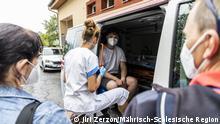 Mobile Impfstelle während der August-Impfung in einer der sozial ausgegrenzten Ortschaften im Norden Mährens. Foto: Mährisch-Schlesische Region Datum: 29.8.2021