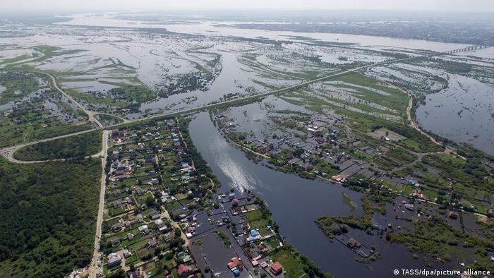 Затопленные в августе 2021 года поселки в Приамурье с воздуха