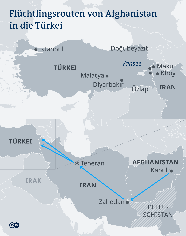 Infografik Karte Afghanistan Fluchtrouten DE