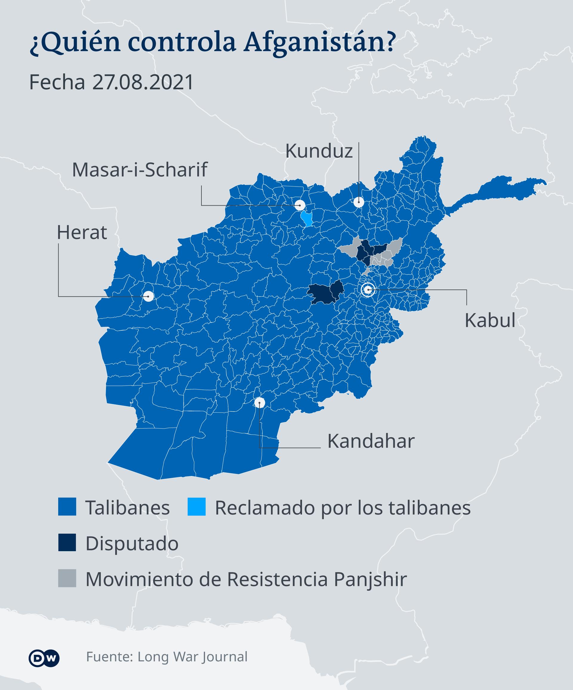 Infografik Wer kontrolliert Afghanistan 27.8.2021 ES