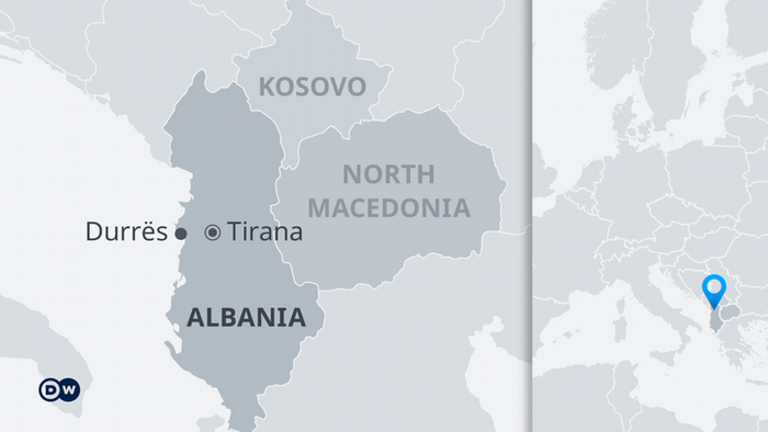 a map of Albania and its neighbors