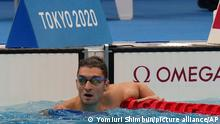 Ukraine's KRYPAK Maksym reacts after winning the Men's 100m Freestyle - S10 Final at the Summer Paralympic Games in Tokyo on Aug. 28, 2021. ( The Yomiuri Shimbun via AP Images )