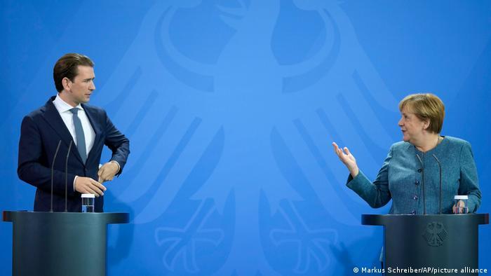 Berlin Kanzlerin Merkel und Kanzler Kurz