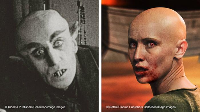 An image from Nosferatu in 1922 and another of actress Peri Baumeister in Blood Red Sky