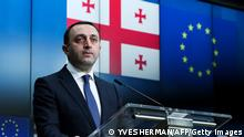 Georgia's Prime Minister Irakli Garibashvili reacts as he attends a joint press conference with European Union High Representative for Foreign Affairs after a EU-Georgia association council in Brussels, on March 16, 2021. (Photo by YVES HERMAN / POOL / AFP) (Photo by YVES HERMAN/POOL/AFP via Getty Images)
