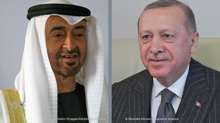 صورة مركبة لكل من الرئيس التركي رجب طيب أردوغان وولي عهد أبوظبي محمد بن زايد (أرشيف)