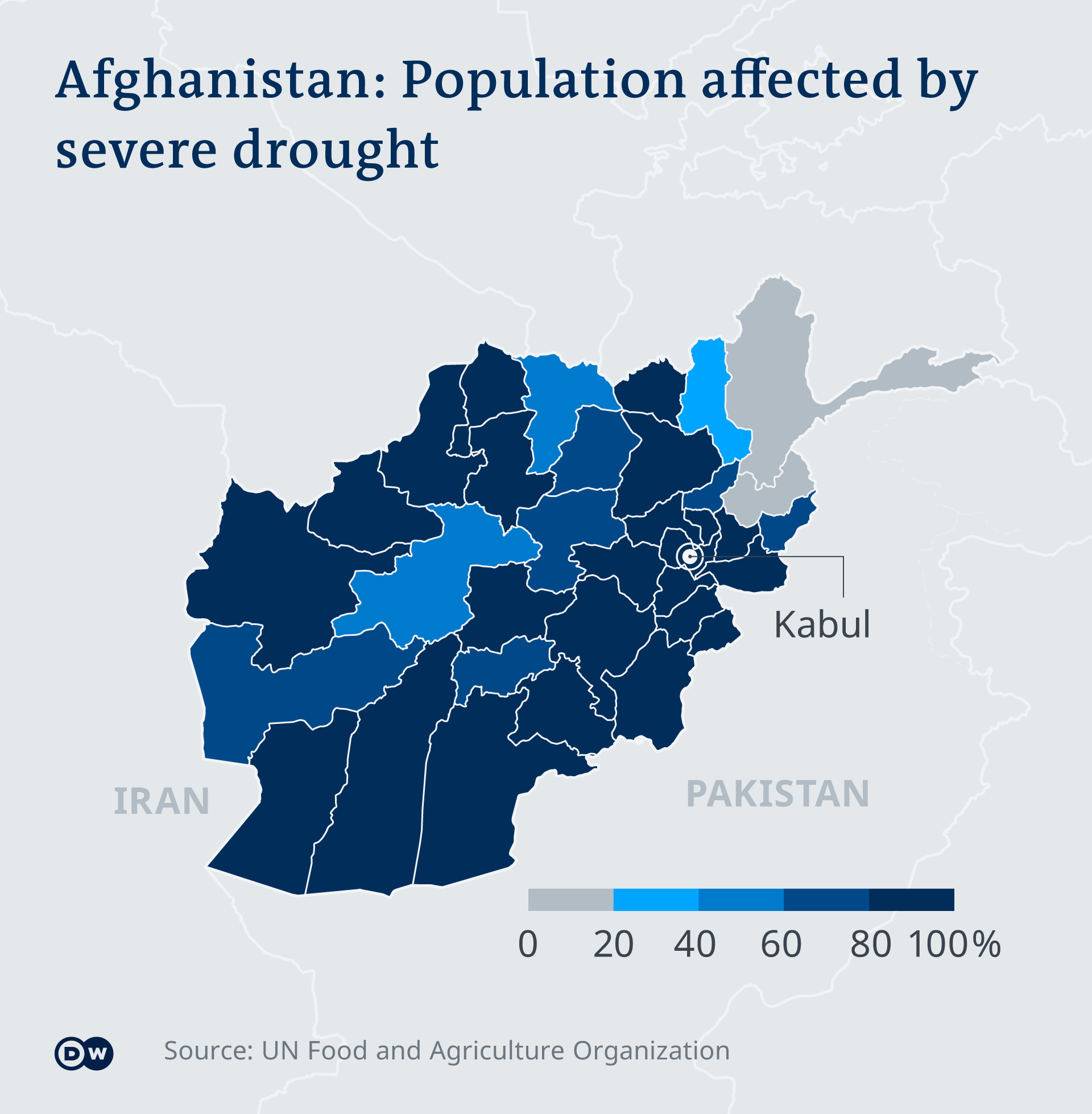 An infographic showing population affected by severe drought