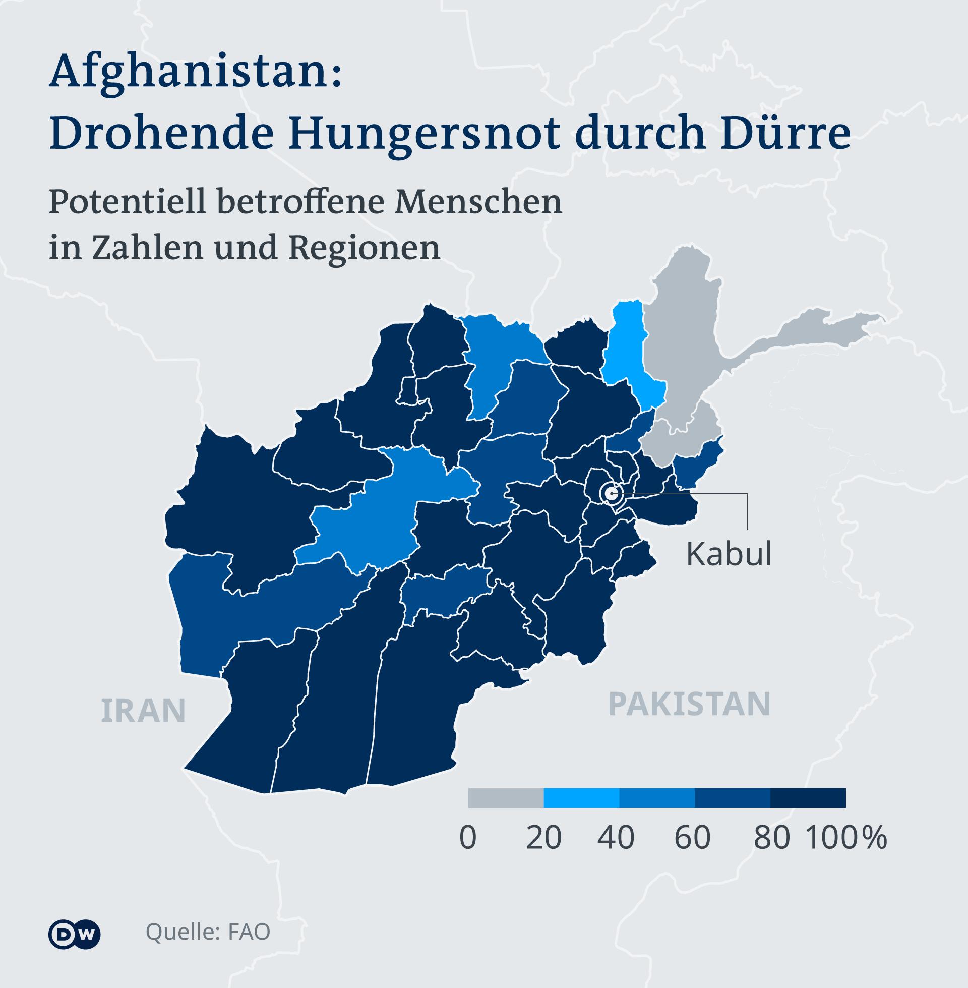 Infografik Menschen durch Dürre in Afghanistan betroffen DE