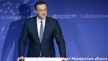 01.09.21 *** German Health Minister Jens Spahn delivers a speech during the inauguration ceremony of the 'WHO Hub For Pandemic And Epidemic Intelligence' at the Langenbeck-Virchow building in Berlin, Germany, Wednesday, Sept. 1, 2021. (AP Photo/Michael Sohn, pool)