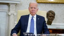 President Joe Biden listens as he meets with Ukrainian President Volodymyr Zelenskyy in the Oval Office of the White House, Wednesday, Sept. 1, 2021, in Washington. (AP Photo/Evan Vucci)
