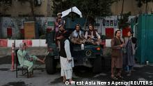 Taliban soldiers are seen at one of the main city squares of Kabul, Afghanistan, September 1, 2021. WANA (West Asia News Agency) via REUTERS ATTENTION EDITORS - THIS IMAGE HAS BEEN SUPPLIED BY A THIRD PARTY. TPX IMAGES OF THE DAY
