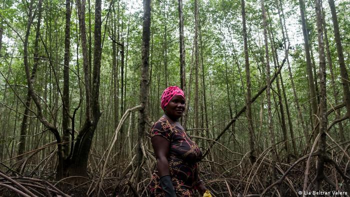 Mujer en un bosque de manglares en Colombia