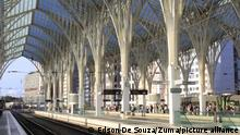 September 1, 2021, Lisboa, Portugal: (INT) Passenger movement at Oriente Station in Lisbon. September 1, 2021, Lisbon, Portugal: Passenger movement at Oriente Station, Lisbon's main intercity rail, on Wednesday (1). Connecting Europe Express will depart on Thursday, 2nd, from Oriente station to arrive in Paris on October 7th , after a journey of 20 thousand kilometers through 26 countries. The aim is to show that it would be possible to organize this trip across 26 countries and cross 33 borders with a single train. (Credit Image: © Edson De Souza/TheNEWS2 via ZUMA Press Wire