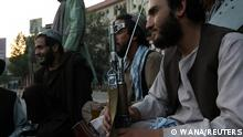 Taliban soldiers talk to each other, in Kabul, Afghanistan September 1, 2021. WANA (West Asia News Agency) via REUTERS ATTENTION EDITORS - THIS IMAGE HAS BEEN SUPPLIED BY A THIRD PARTY.