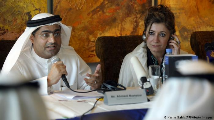 Emirati blogger and human rights activist Ahmed Mansour speaks as the director of Human Rights Watch's Middle East and North Africa division, Sarah Leah Whitson listens on.
