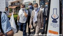 RABAT, MOROCCO - AUGUST 29: General secretary of Justice and Development Party Saad-Eddine El Othmani (R) visits shop owners at Al Manal Mall ahead of the general elections to be held in September 8, in Rabat, Morocco on August 29, 2021. Jalal Morchidi / Anadolu Agency