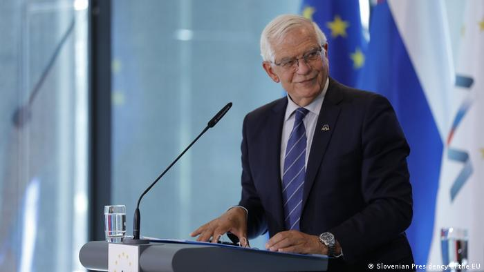 EU foreign policy chief Josep Borrell speaks after a defense ministers meeting