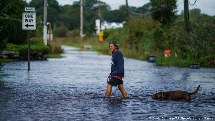 man and dog walking in floods