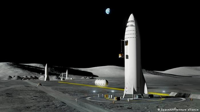 Illustration of a SpaceX rocket on the moon