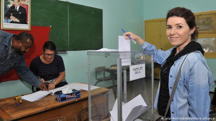 A citizen is seen at a polling station to cast her vote during the Parliamentary elections in Casablanca, Morocco