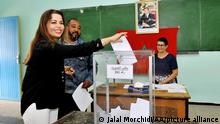 CASABLANCA, MOROCCO - OCTOBER 7: A citizen is seen at a polling station to cast her vote during the Parliamentary elections in Casablanca, Morocco on October 7, 2016. Jalal Morchidi / Anadolu Agency