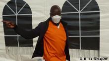 Beklagte Bruno Langa während des Prozesses der versteckten Schulden in Maputo, Mosambik.