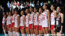 Frauen-Volleyball Nationalmannschaft der Türkei, die heute im Halbfinale gegen Serbien in Belgrad 3-1 verloren haben. Datum: 3.9.2021