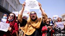 Afghan women's rights defenders and civil activists protest to call on the Taliban for the preservation of their achievements and education, in front of the presidential palace in Kabul, Afghanistan September 3, 2021. REUTERS/Stringer TPX IMAGES OF THE DAY