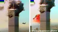 Diese Combo des Fernsehsenders NTV zeigt ein Flugzeug, das am 11.9.2001 ins World Trade Center in New York fliegt. Zwei Flugzeuge sind an diesem Morgen kurz hintereinander in die Türme des World Trade Center gerast. Bei den schweren Explosionen wurden wahrscheinlich außer den Insassen der Maschinen zahlreiche Menschen innerhalb der beiden Wolkenkratzer getötet. Das FBI geht dem Verdacht nach, dass es sich um einen gezielten Anschlag von terroristischen Selbstmord-Attentätern handelt. Die oberen Teil der Wolkenkratzer gingen nach Explosionen in Flammen auf. Wrack- und Gebäudeteile der 411 Meter hohen Zwillingstürme flogen auf die Straße. Die Maschinen waren innerhalb von 18 Minuten in die Häuser gerast. Die Sicht war vollkommen klar und die Zone im Süden Manhattans ist für Fluge nicht zugelassen.