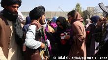 KABUL, AFGHANISTAN - SEPTEMBER 04: Taliban intervene in women holding a demonstration for woman's rights in Kabul, Afghanistan on September 04, 2021. Bilal Guler / Anadolu Agency