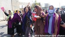 KABUL, AFGHANISTAN - SEPTEMBER 04: Women hold a demonstration for women's rights in Kabul, Afghanistan on September 04, 2021. Taliban intervened in the demonstration. Bilal Guler / Anadolu Agency