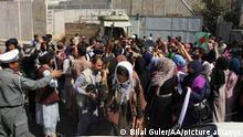 KABUL, AFGHANISTAN - SEPTEMBER 04: Taliban intervene in women holding a demonstration for women's rights in Kabul, Afghanistan on September 04, 2021. Bilal Guler / Anadolu Agency