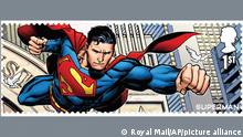 This is a photo made available by Royal Mail on Tuesday, Aug. 31, 2021, in partnership with Warner Bros. Consumer Products, of the Superman stamp, one of 18 images on stamps that celebrate DC and the Super Heroes and Super-Villains genre that it helped create. (Royal Mail via AP)