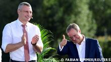 North Rhine-Westphalia's State Premier, Christian Democratic Union (CDU) leader and candidate for chancellor Armin Laschet reacts during an election rally with Kyiv Mayor Vitali Klitschko in Hanover, Germany September 4, 2021. REUTERS/Fabian Bimmer