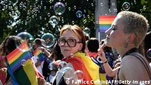 Members of lesbian, gay, bisexual, transgender, intersex and queer (LGBTIQ) community take part in the Zurich Pride