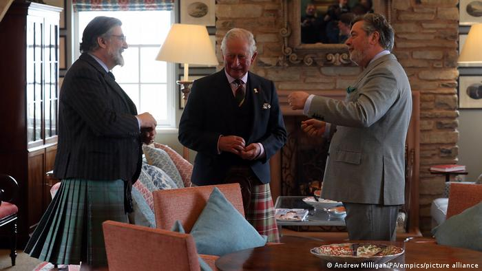 Prince Charles with Lord Thurso and Michael Fawcett