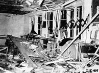 A sala de conferências de Hitler, após a explosão